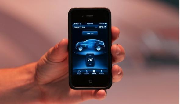 Электромобиль Tesla S запускается с iPhone