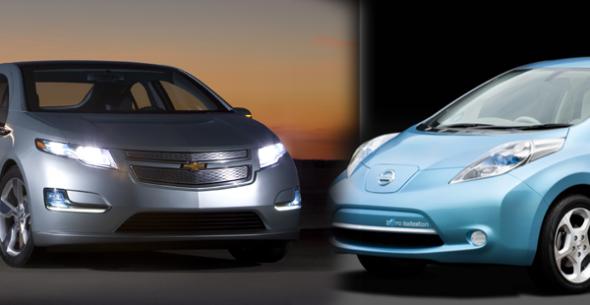Электромобили Chevrolet Volt и Nissan Leaf